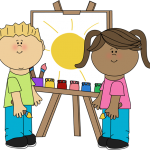 kindergarten-kids-painting-on-easel