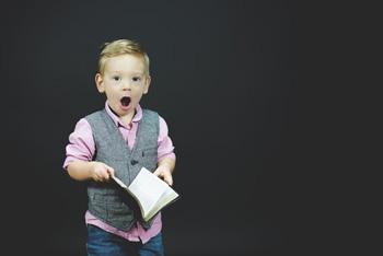 little boy surprised